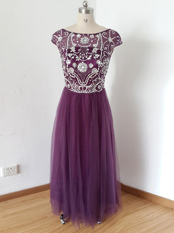 Chic A-line Scoop Tulle Grape Beading Modest Long Prom Dress Evening Dress AM798