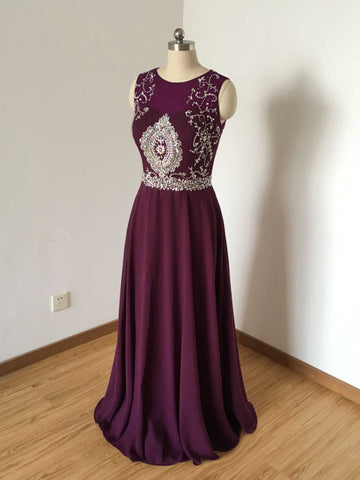 Chic Grape Prom Dress A-line Scoop Chiffon Beading Prom Dress Evening Dress AM799