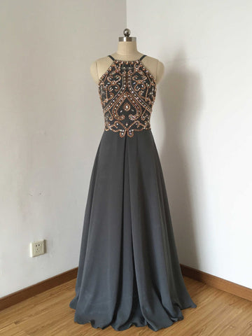 Chic A-line Spaghetti Straps Chiffon Silver Beading Long Prom Dress Evening Dress AM800