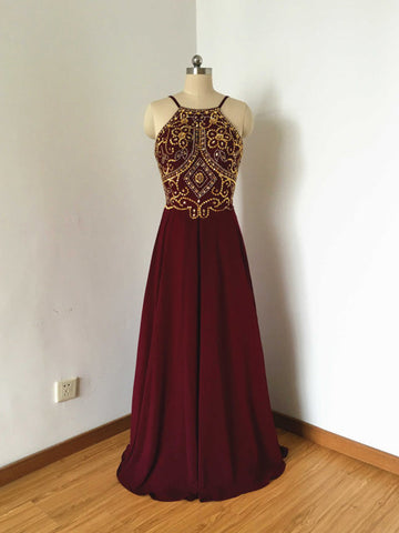 Chic A-line Spaghetti Straps Chiffon Burgundy Beading Long Prom Dress Evening Dress AM801