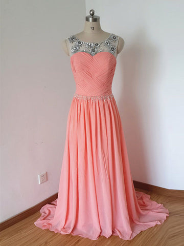 Chic Watermelon Prom Dress A-line Scoop Chiffon Beading Prom Dress Evening Dress AM803