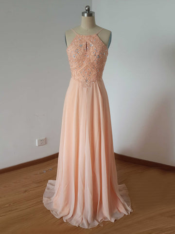 Chic Prom Dresses Long A line Chiffon Spaghetti Straps Cheap Beaded Prom Dress AM804
