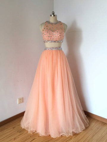 Chic 2 Pieces Prom Dress A-line Scoop Beading Tulle Prom Dress Evening Dress AM807