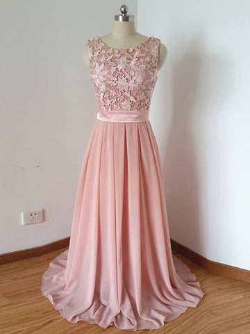Chic Pink Prom Dress A-line Scoop Applique Chiffon Long Prom Dress Party Dress AM809