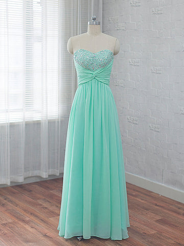 Chic Mint Prom Dress A-line Sweetheart Beading Chiffon Long Prom Dress Party Dress AM812