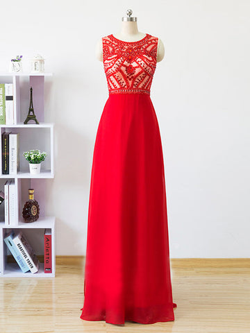 Chic A-line Scoop Chiffon Red Beading Modest Long Prom Dress Evening Dress AM813