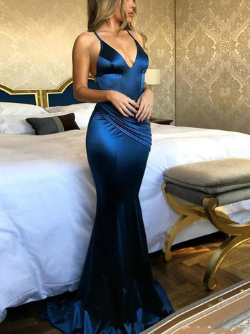 Chic Trumpet/Mermaid Spaghetti Straps Simple Long Prom Dress Evening Dress AM815