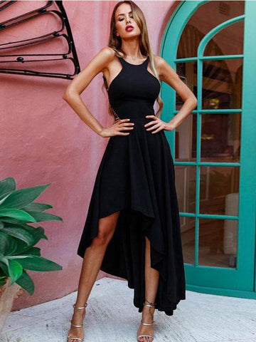 Chic Black Prom Dress A-line High Low Chiffon Simple Prom Dress Evening Dress AM816