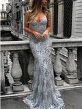 Chic Trumpet/Mermaid Spaghetti Straps Silver Modest Long Prom Dress Evening Dress AM817