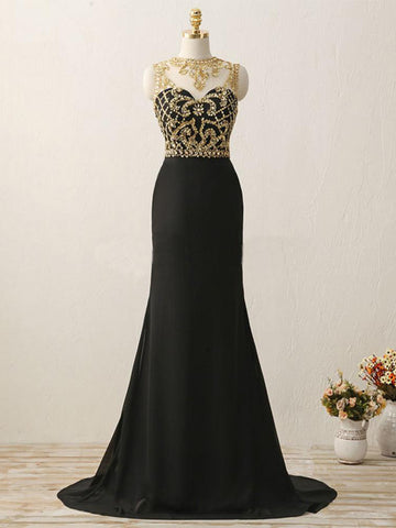 Chic Sheath/Column Scoop Black Beading Modest Long Prom Dress Evening Dress AM823