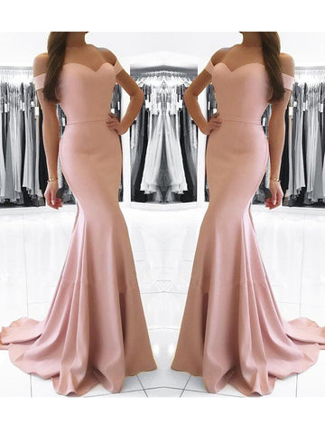 Chic Trumpet/Mermaid Off-the-shoulder Pink Simple Long Prom Dress Evening Dress AM824