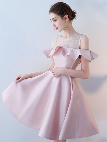 Chic A-line Scoop Pink Satin Simple Short Prom Dress Homecoming Dress AM828