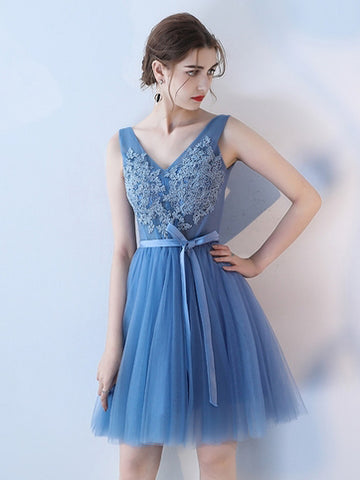 Chic A-line V-neck Blue Tulle Modest Short Prom Dress Homecoming Dress AM829