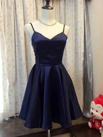 Chic A-line Spaghetti Straps Dark Navy Simpe Short Prom Dress Homecoming Dress AM831