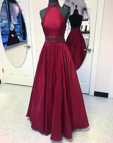 Chic Burgundy Prom Dresses Long Halter Taffeta Long Prom Dress Party Dresses AM833