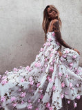 Chic A-line Prom Dress Spaghetti Straps Tulle Applique Prom Dress Evening Dress AM835