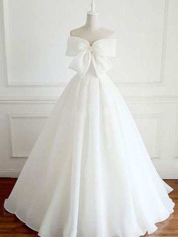 Chic White Prom Dress Organza Bowknot Simple Prom Dress Wedding Dress AM836