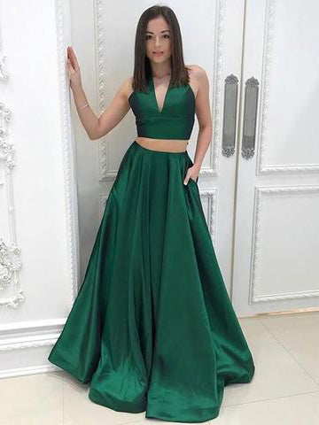Chic Two Pieces Prom Dresses Long V neck Simple Hunter Prom Dress Party Dresses AM838