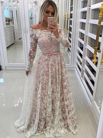 Chic Lace Red Prom Dress Off Shoulder Long Sleeve Applique Long Prom ...