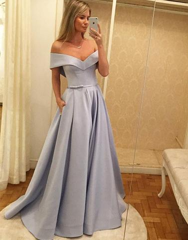 Chic A-line Prom Dresses Long Off-the-shoulder Simple Cheap Prom Dresses AM843