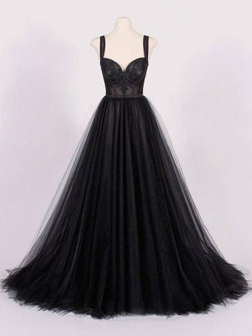 Chic A-line Straps Black Tulle Simple Long Prom Dress Evening Dress AM847