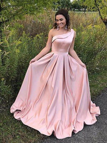Chic A-line Prom Dresses Long Pink One Shoulder Cheap Simple Prom Dresses Party Dresses AM849