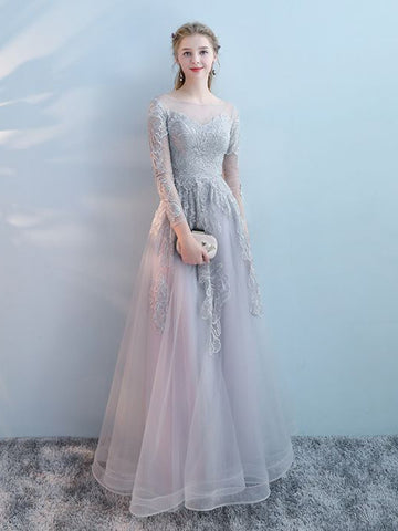 Chic A-line Bateau Tulle Modest Silver Long Prom Dress Evening Dress AM851