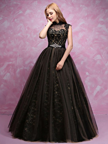 Chic A-line High Neck Tulle Modest Black Long Prom Dress Evening Dress AM852
