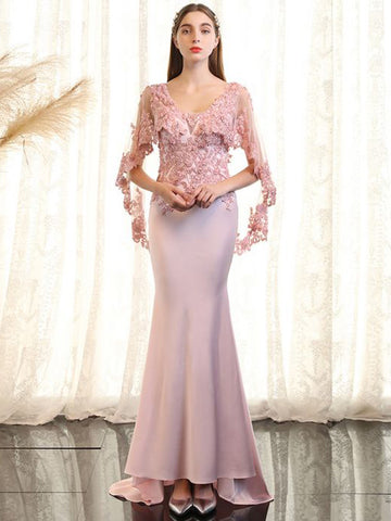 Chic Trumpet/Mermaid Scoop Pink Applique Long Prom Dress Evening Dress AM853