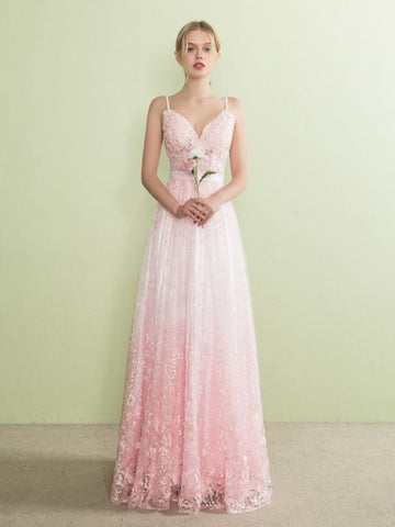 Chic A-line Prom Dress Spaghetti Straps Pink Tulle Modest Long Evening Dress AM857