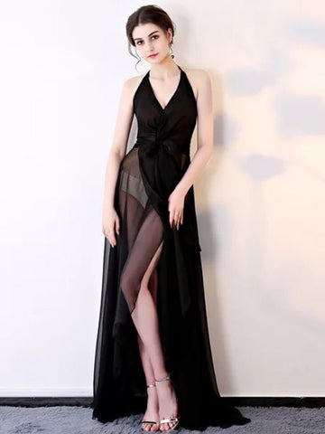 Chic A-line Prom Dress Halter Black Chiffon Simple Sexy Long Evening Dress AM858