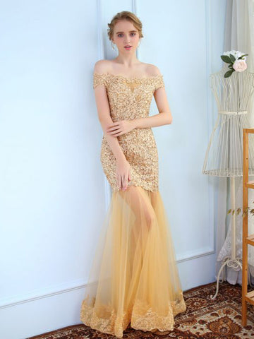 Chic Trumpet/Mermaid Off-the-shoulder Tulle Gold Applique Long Prom Dress Evening Dress AM859