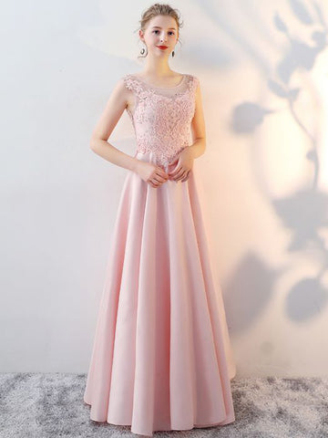 Chic A-line Prom Dress Scoop Pink Satin Applique Modest Long Evening Dress AM860