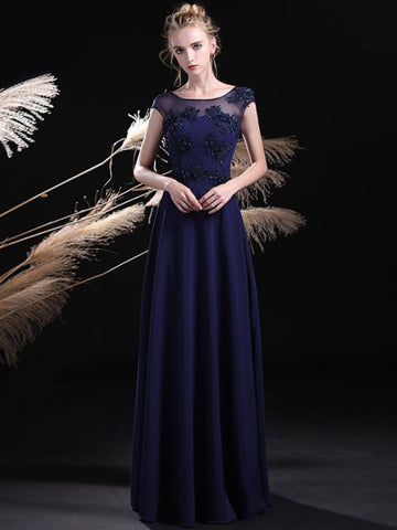 Chic A-line Dark Navy Prom Dress Scoop Chiffon Modest Long Evening Dress AM861