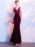 Chic Trumpet/Mermaid Burgundy Prom Dress V-neck Modest Long Evening Dress AM862