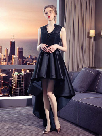 Chic High Low Prom Dress A-line Black V Neck Lace Prom Dress Party Dress AM863