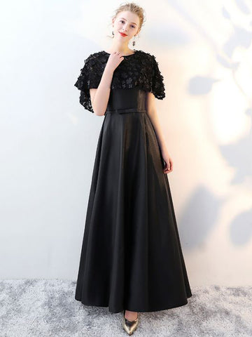 Chic Two Pieces Black Prom Dress Spaghetti Straps Applique Long Evening Dress AM864
