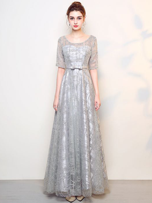 c1b0bf1185 Chic Silver Prom Dress A line Tulle Beading Half Sleeve Prom Dress Par –  AmyProm