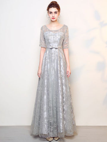 Chic Silver Prom Dress A line Tulle Beading Half Sleeve Prom Dress Party Dress AM865