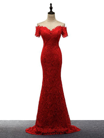 Chic Trumpet/Mermaid Red Prom Dress Off-the-shoulder Lace Long Evening Dress AM866