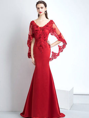 Chic Mermaid Prom Dress Red Lace Modest Long Prom Dress Evening Dress AM867