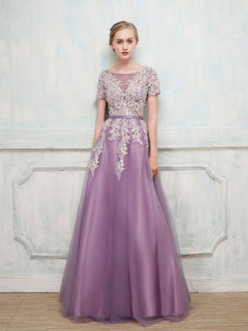 Chic A-line Lilac Prom Dress Short Sleeve Scoop Applique Long Evening Dress AM868