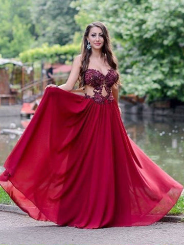 Chic A-line Burgundy Prom Dress Sweetheart Chiffon Applique Long Evening Dress AM869