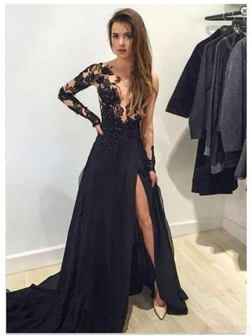 Chic A-line Black Prom Dress Scoop Applique Modest Long Evening Dress AM875