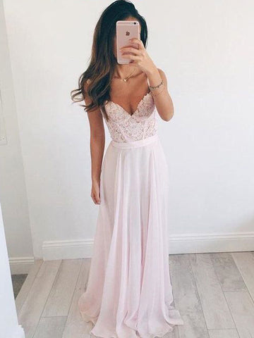 Chic A-line Pink Prom Dress Straps Chiffon Applique Modest Long Evening Dress AM876
