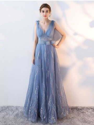 Chic A-line V-neck Tulle Blue Modest Long Prom Dress Evening Dress AM878