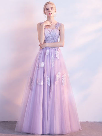 Chic Lilac Prom Dress A-line Applique Modest Long Prom Dress Evening Dress AM879