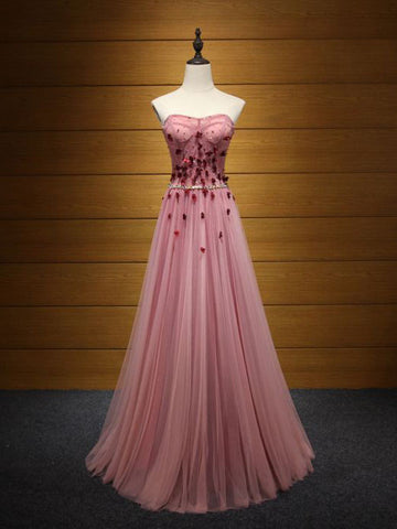Chic Pink Prom Dress A-line Sweetheart Applique Long Prom Dress Evening Dress AM880