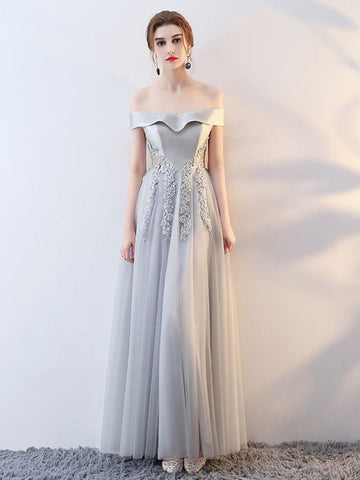 Chic Long Prom Dress A-line Off-the-shoulder Tulle Silver Prom Dress Evening Dress AM881