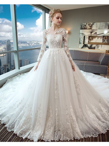 Gorgeous Wedding Dress 2018 Scoop Lace Applique Flowers Tulle Long Sleeve Bridal Gown AM882